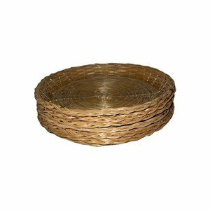 6 Vintage Wicker Ratan Bamboo Paper Plate Holder